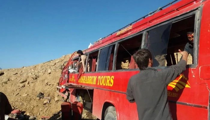 26 people were killed when a passenger bus rammed into a mountain in Babusar Pass